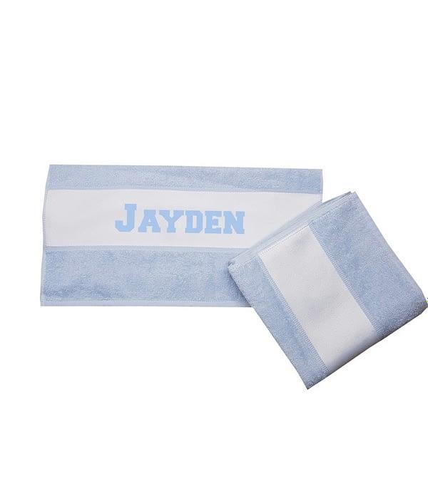 handdoek met naam blauw